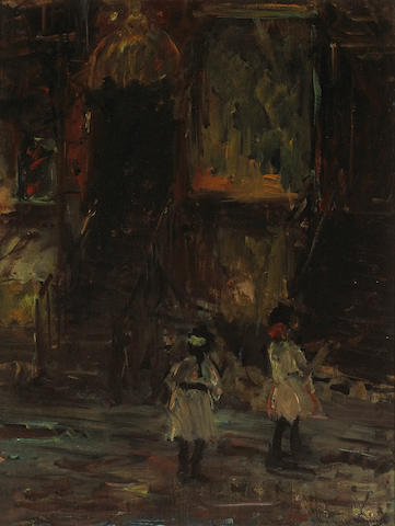 Wayman Adams (American, 1883-1959) 'Chinatown, New York' 15 x 11 3/4in