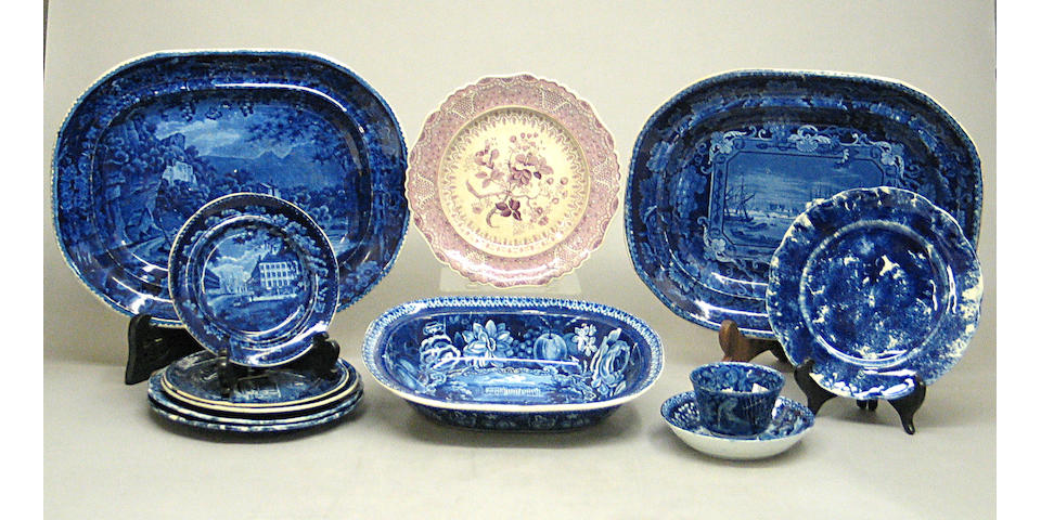 An assembled grouping of twelve pieces blue and white Staffordshire of American and English scenes