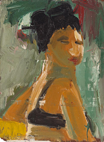 Joan Brown (American, 1938-1991) Portrait of Flo Allen, 1957 12 x 9in (30 x 23cm)