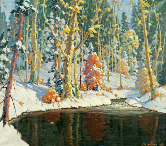 John Adams Spelman (American, 1880-1941) Autumn in the Forest, 1929 28 1/4 x 32in