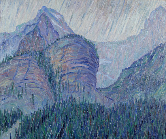 Allen Tucker (American, 1866-1939) Storm in the Rockies, 1912 25 x 30in