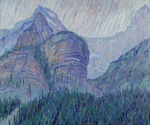 Allen Tucker (American, 1866-1939) Storm in the Rockies 25 x 30in