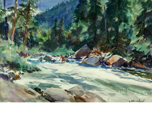 John Whorf (American, 1903-1959) Fly Fisherman in a Mountain Stream 22 3/4 x 16in