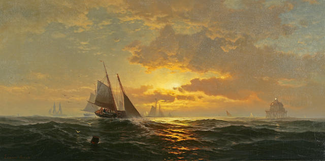 Edward Moran (British, 1829-1901) Schooners off Baltimore Shore 18 x 36in