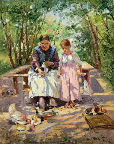 Vladimir Makovsky, 'Feeding the birds', oil on canvas