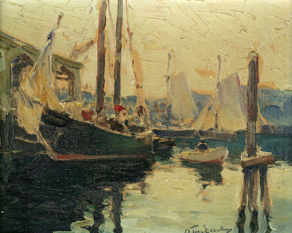 Anthony Thieme (American, 1888-1954) Boats in a Harbor 8 x 10in