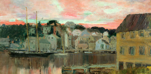 George Elmer Browne (American, 1871-1946) New England Harbor 14 x 28in