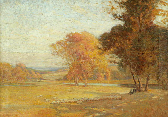 Frederick J. Mulhaupt (American, 1871-1938) Shepherd and Flock in Autumn 14x 20in