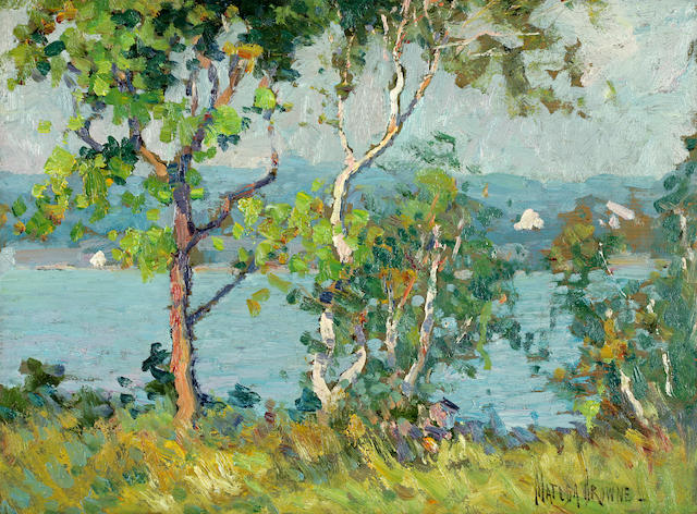Matilda Brown (American, 1869-1947) A lake viewed through trees; Sheep on a hillside (2) each 12 x 16in