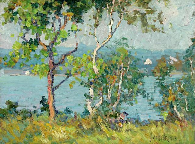 Matilda Brown (American, 1869-1947) A lake viewed through trees; Sheep on a hillside (2) each 12 x 16in (30.5 x 40.6cm)