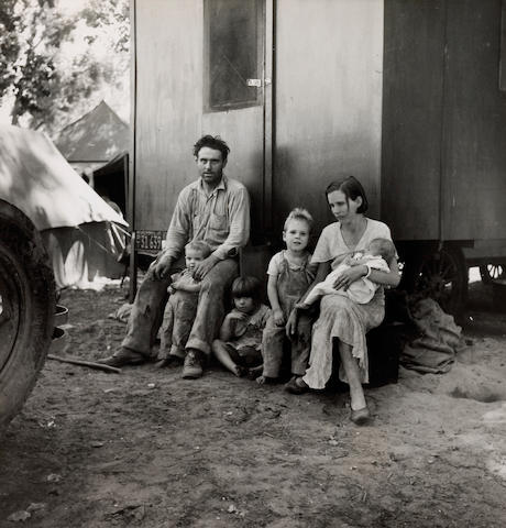 Dorothea Lange (American, 1895-1965); Marysville Migrant Camp-California Fruit Tramp and His Family;