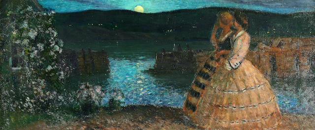 Gifford Beal (American, 1879-1956) Moonrise 20 x 48in