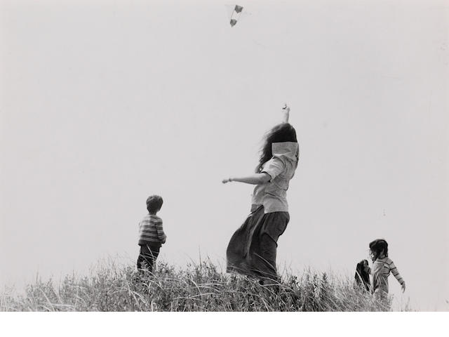 Robert Frank (American, born 1924); Mary, Pablo and Andrea Flying a Kite;