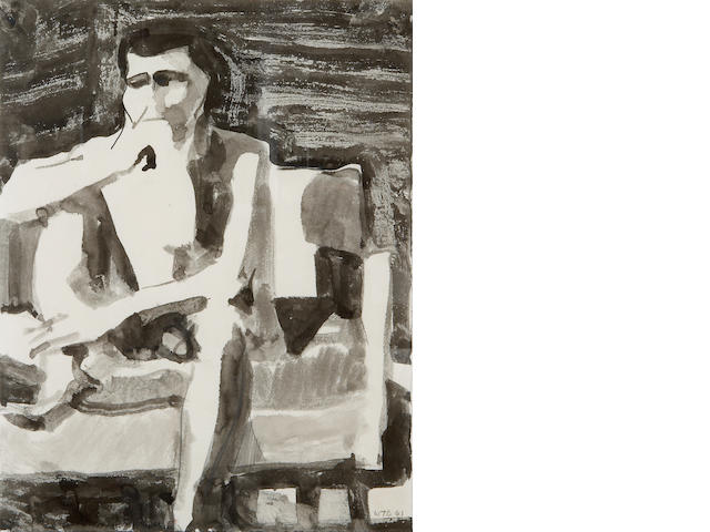 William Theophilus Brown (American, born 1919) Seated Man, 1961 11 x 8 1/2in (28 x 22cm)