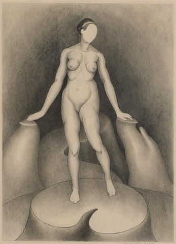 Henrietta Shore (American, 1880-1963) Edward Weston, c. 1927; Nude, c. 1922 (2) first 18 x 12in (46 x 30cm); second 16 x 12in (41 x 30cm)