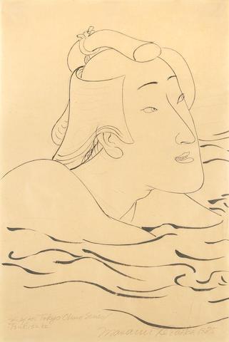 Masami Teraoka (Japanese, born 1936) Study for Tokyo Ohuro Series/Tsukisuki, 1985 17 1/2 x 12in (44
