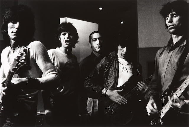 Helmut Newton (German, 1920-2004); The Stones during a recording session in Paris;