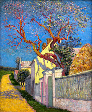Léo Gausson (French, 1860-1944) Pasage á l'arbre rouge 22 x 18 1/8in (56 x 46cm)