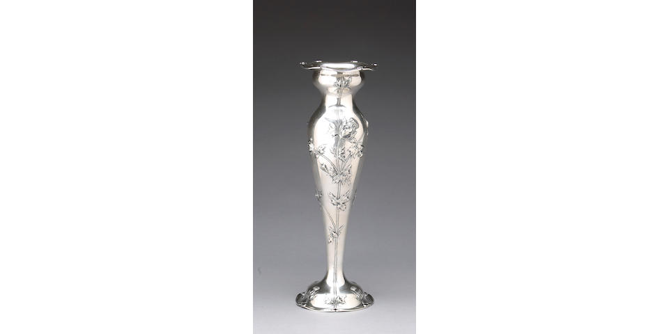 Sterling Vase in the Art Nouveau Taste by Shreve & Co.