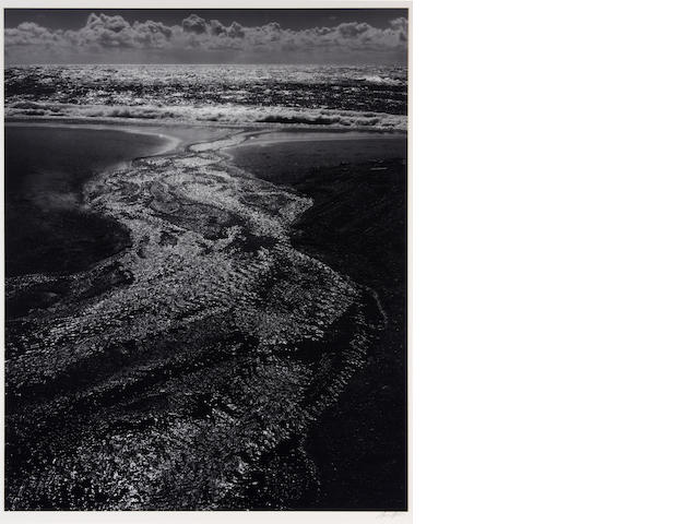 Ansel Adams (American, 1902-1984); Stream, Sea, Clouds, Rodeo Lagoon, Marin County, California;