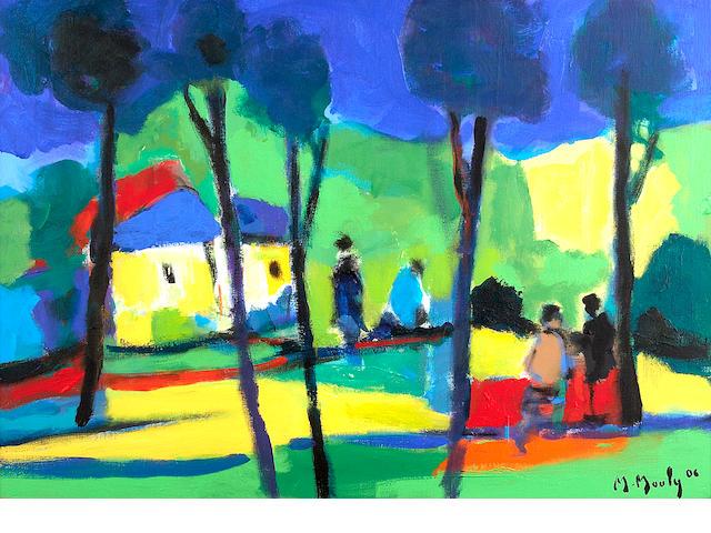 Marcel Mouly (French, 1918-2008) Les cases aux toits bleus, 2006 18 1/8 x 25 9/16in (46 x 65cm)