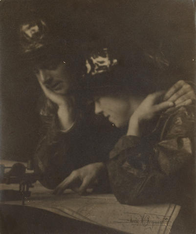 Anne W. Brigman (American, 1869-1950); Couple viewing a Map;
