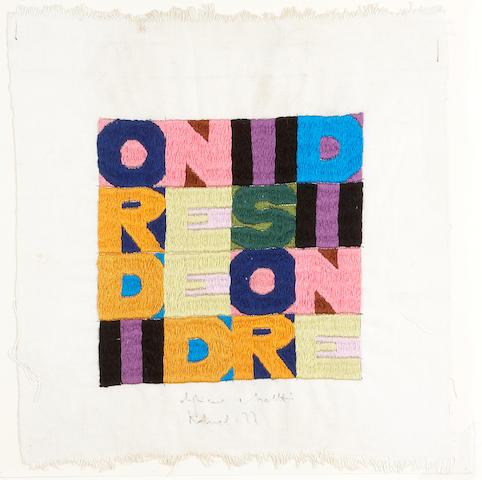 Alighiero Boetti (Italian, 1940-1994) ORDINE E DISORDINE, 1977 12 x 11in (30 x 28cm)