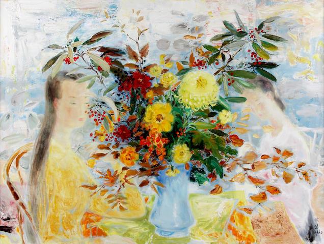 Le Pho (French, 1907-2001) Harmonie jaune 38 1/4 x 51 1/4in (97 x 130cm)
