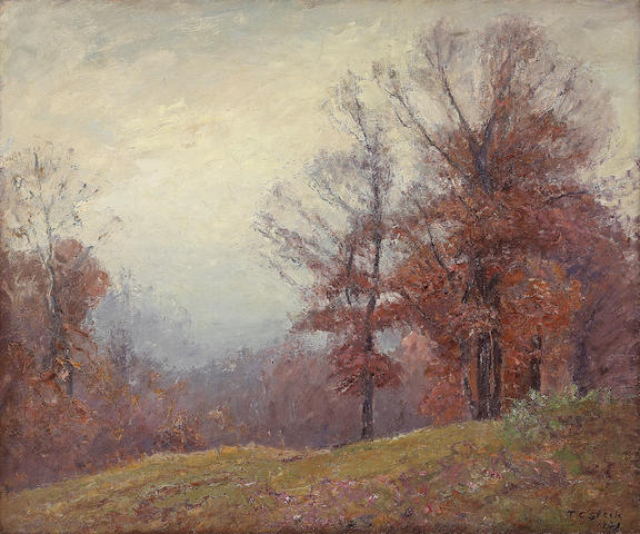 Theodore Clement Steele (American, 1847-1926) Autumn Trees 25 x 30in