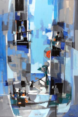 Marcel Mouly (French, 1918-2008) La rue Espagnole à Peníscola, 1957 76 1/2 x 51in (194.3 x 129.5cm)