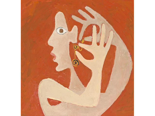 David Park (American, 1911-1960) Girl with Earring, c. 1943 15 x 15in (38 x 38cm)