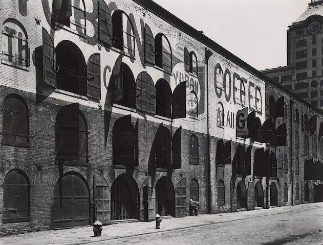 Berenice Abbott (American, 1898-1991); Yuban Coffee Warehouse, Water and Dock Streets, Brooklyn, N.Y.;