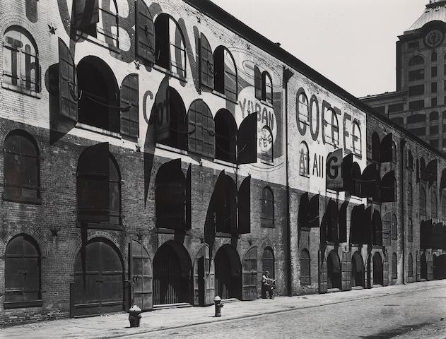 Berenice Abbott (American, 1898-1991); Yuban Coffee Warehouse, Water and Dock Streets, Brooklyn, N.Y.;