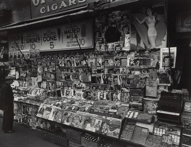 Berenice Abbott (American, 1898-1991); Newsstand, 32nd Street and 3rd Avenue, Manhattan;