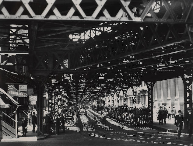 Berenice Abbott (American, 1898-1991); Under the El at the Battery;