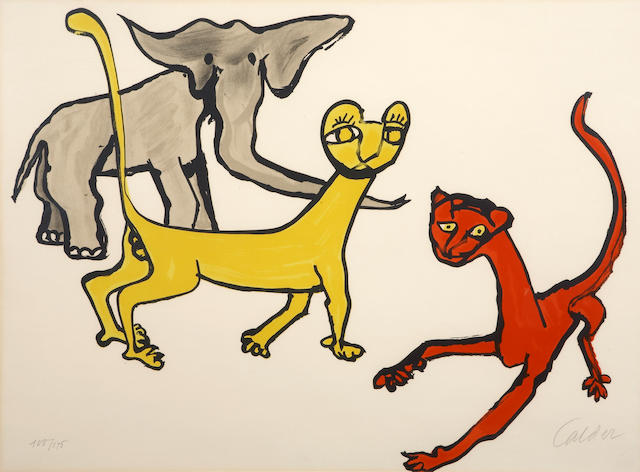 Alexander Calder (American, 1898-1976); Untitled (Two Cats and an Elephant), from Our Unfinished Revolution;