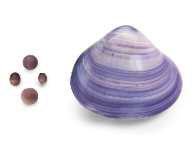 Rare and Historic Suite of Four Purple Non-Nacreous Pearls