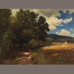 Raymond Dabb Yelland (1848-1900) A Wooded Path with Passing Clouds 18 x 24in