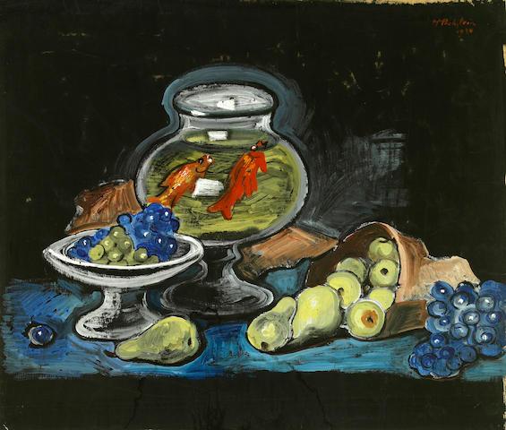 Max Pechstein (German, 1881-1955) Stilleben mit Goldfischglas, 1930 20 1/8 x 23 5/8in (51.2 x 60cm)