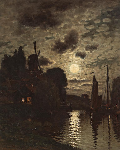 John Joseph Enneking (American, 1841-1916) Moonlit Harbor, 1879 19 x 15 1/2in
