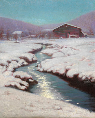 Birge Harrison (American, 1854-1929) A Creek through Snow-covered Fields 12 x 10in