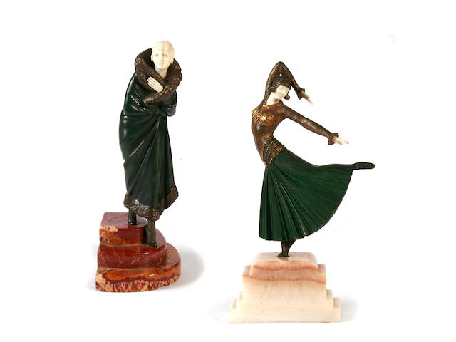 Two cold-painted bronze and ivory figures