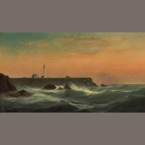 Gideon J. Denny (1830-1886) The Lighthouse at Point Arena 20 x 36in