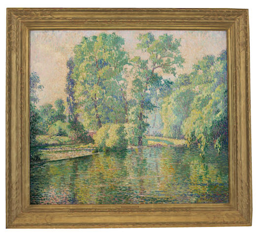 George Noyes, Spring landscape, oil (PHOTOGRAPH IN FRAME)