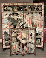 A four- panel coromandel floor screen Late Qing Dynasty/Republican Period