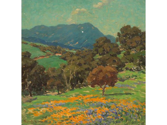 Granville Redmond  (1871-1935) Rolling Hills with Poppies and Lupine 15 x 15in