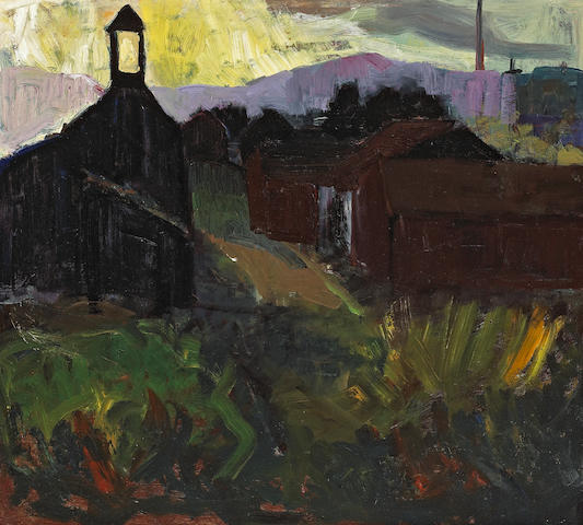 August Gay (American, 1890-1948) Sunset Steeple (Coast Highway, Montecito) 17 3/4 x 19 3/4in
