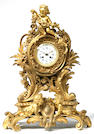 French gilt bronze figural shelf clock