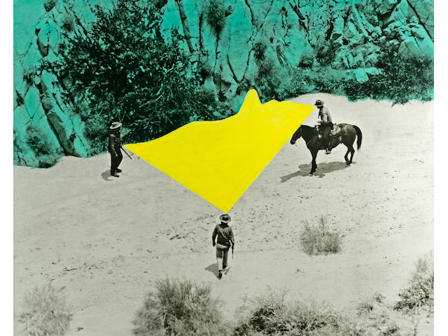 John Baldessari (American, born 1931) Yellow Void with Three Figures, 1990 48 x 60in (122 x 152.4cm)