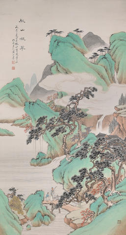 Huang Shanshou (1855-1919), Green Mountain in Autumn, hanging scroll